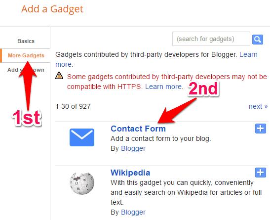 membuat halaman kontak di blogspot