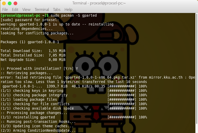 install gparted di linux
