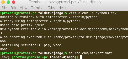 install django di linux