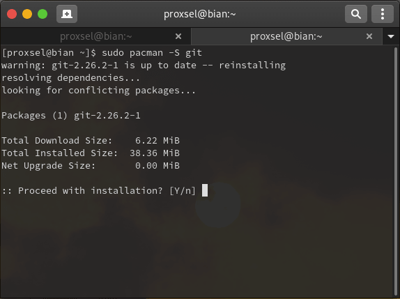 install git di arch linux