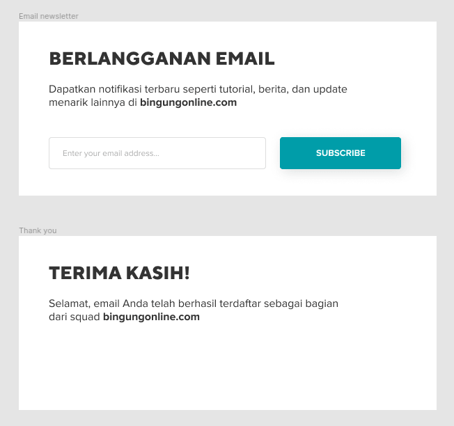 membuat efek button hover : email newsletters box